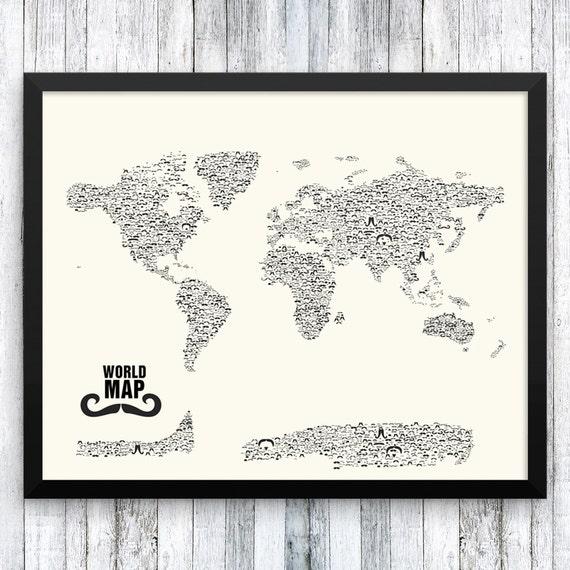 Moustache World Map | Stache | Nautical Gifts | Travel Gifts for Her | Travel Gifts for Him |  Movember | Handlebar | Mustache Styles |Cream
