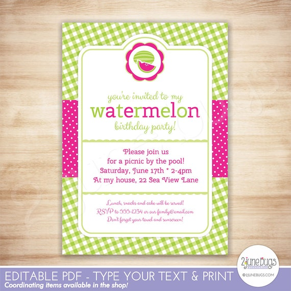 Watermelon party invitation template watermelon birthday party il570xn stopboris