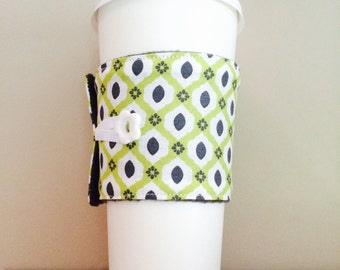 Coffee Cup Cozy, Coffee Cup Sleeve, Cup Cozy, Cup Sleeve, Reusable Coffee Sleeve - Lime Charcoal Geo [06]