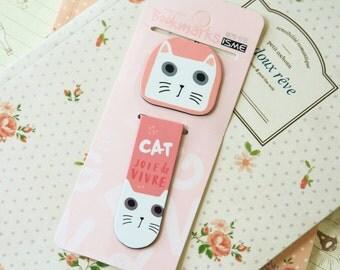 04 Cat cartoon magnetic bookmark paper clips