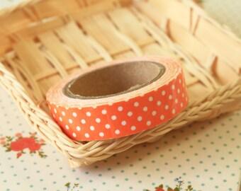 APRICOT Orange Polka Dots adhesive deco fabric tape