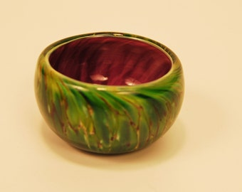 Plum and Green Patina Glass Salt Bowl