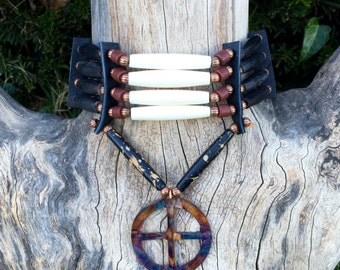 Medicine Wheel bone hair pipe choker, copper, flame painted black buffalo horn, 4 row choker, native american style, tribal style, pow wow,