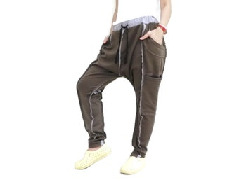 Unisex Ninja Harem Funky Layer Raw Edge & Contrasting Color Seam Dark Brown Cotton Jersey Pants With 4 Pockets