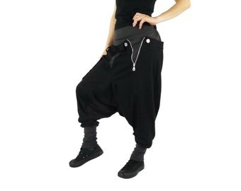 Unisex Pants - Funky Harem Casual Contrast Color Waist & Hem Black Cotton Jersey Pants With 1 Patched Pocket And Elastic Back Waist