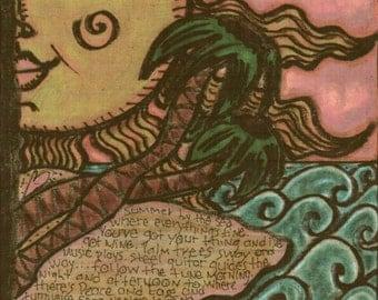 Hippie Art, Print, 11 x 17, Sea and Sand