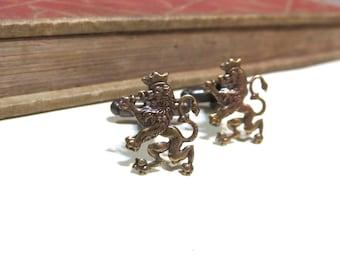 Antiqued Brass Lion Filigree Cuff Links - Medieval - antique gold - Victorian - Soldered - Game of Thrones - Lannister