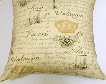 "Waverly designer accent decorative 18"" x 18"" pillow cover, toss pillows, French script, yellow and black, throw pillows"