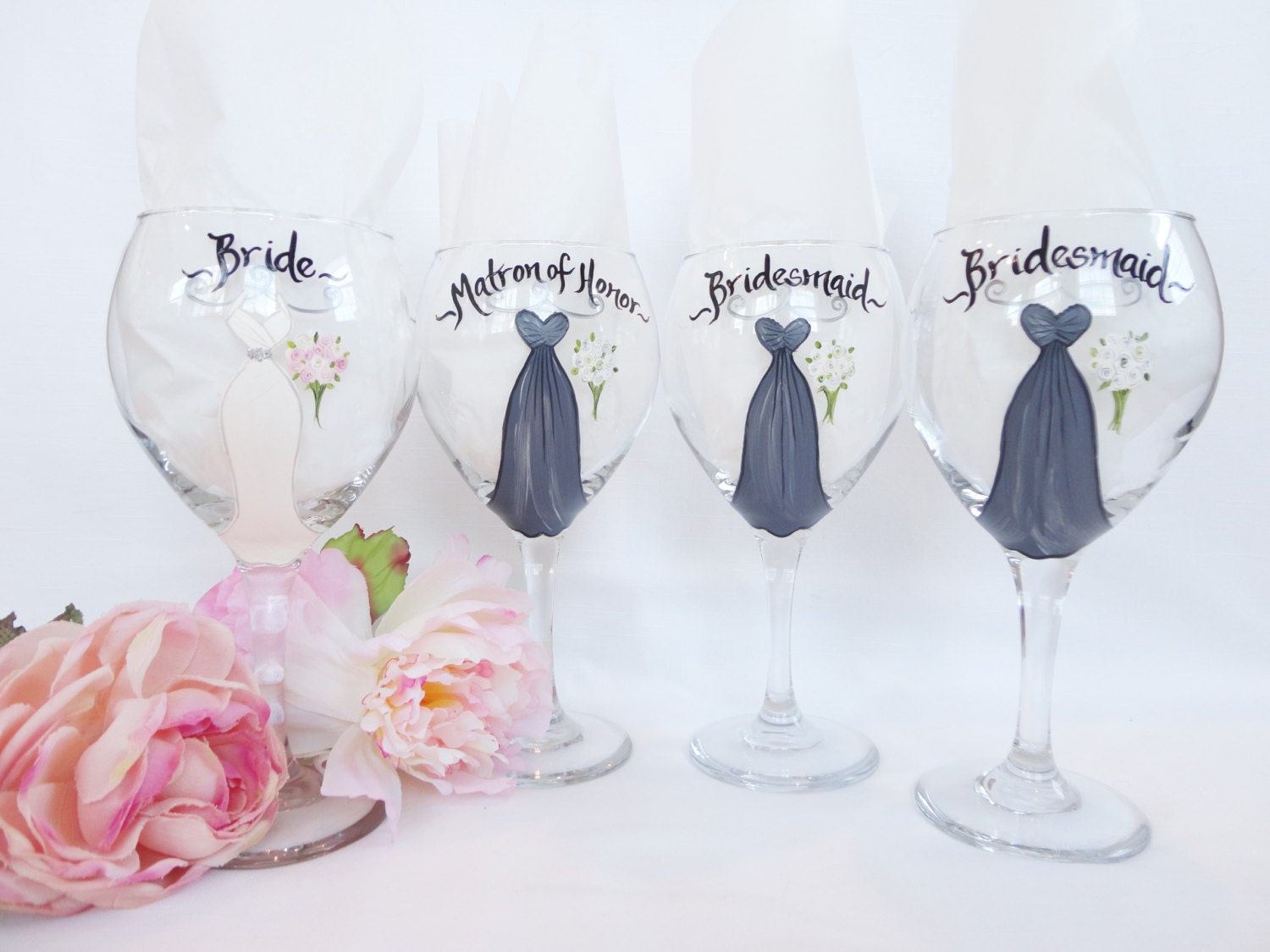 exact dress replica personalized bridesmaid wine glasses