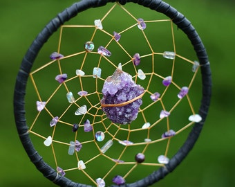 Dreamcatcher, with amethyst, labradorite, mother of pearl, rooster and peacock feathers