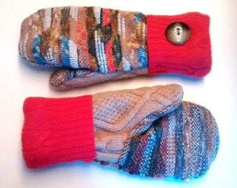 Color and Coral wool blend mittens made from recycled sweaters; lined with soft fleece. Ladies Medium/Large.