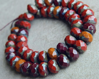 Autumn Picasso Czech glass rondelle mix, Fire polished faceted donut beads, 6X9mm bead mix, glass donut beads,  (20pcs) NEW