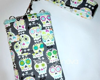 Skulls Phone Case Gray Grey  Bonehead Hearts and Aqua or Pink Phone Case with Wristlet or Kawaii Blue iPhone 6 Plus Gothic