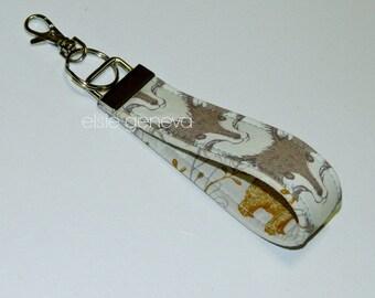 Ready to Ship Natural Brown & Aqua Fox Bear Key Fob Chain Wristlet Personalize Option