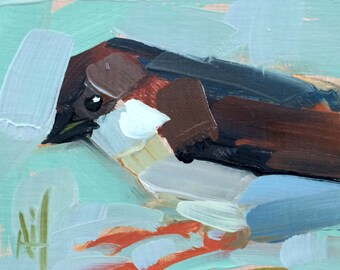 Hopping Sparrow Original Bird Oil Painting by Angela Moulton 4 x 4 inch on Birch Plywood Panel