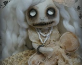 ELIZABETH Ghost girl and her dolly  Goth primitive folk art Doll OOAK Dark  spooky creepy cute Emo collectable