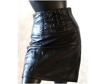 90's Hi Waisted Black Leather Corset Skirt