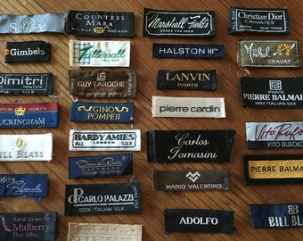 Vintage Designer Garment Labels Woven Clothing Tags