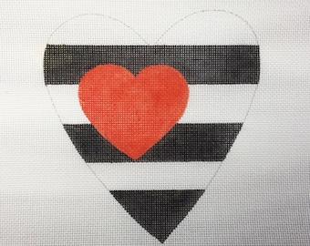 Valentine Heart Black White Stripes Red Heart Needlepoint - Jody Designs #VH4