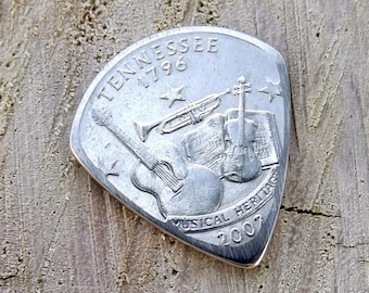Mini Coin Guitar Pick - Premium Quality - Jazz Stubby - Handmade with a Nice 2002 Tennessee State Quarter - Artisan Guitar Pick