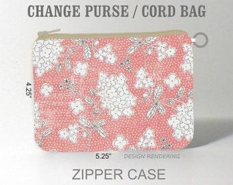 Coral Floral change purse coin purse zipper eyeglass case sunglass case pouch zipper