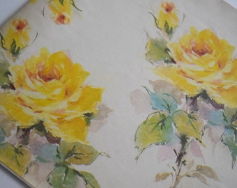 Vintage GIFT WRAP PAPER Boy Girl Birthday Shower Yellow Rose Flower Floral Gold Old World Style Theme Present Party Nos Child Children Adult
