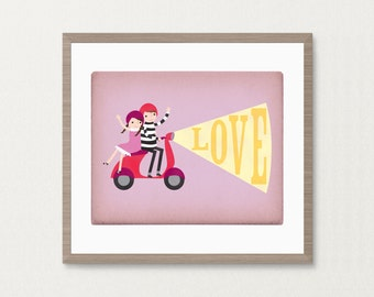 Boy & Girl Couple Moped Love - Customizable 8x10 Archival Art Print