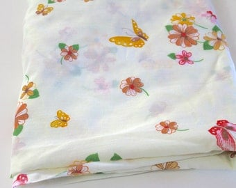 Vintage Bed Sheet vintage Full Size double fitted bottom bed sheet Thomaston No Iron Asian butterfly bed sheet reclaimed quilting fabric