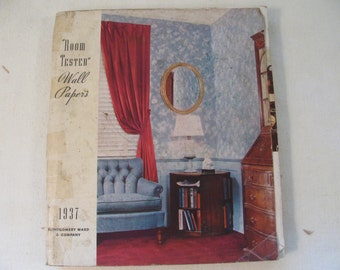 """Vintage 1937 Wallpaper Sample Catalog - Montgomery Ward & Company - 70+ppg - 7.5"""" by 9"""" - Complete - Great Condition"""