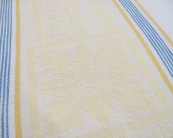 "Vintage Tablecloth - Large Cotton Damask  w/ Stripe Pattern on the Sides - 56 W by 96"" L -"