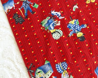 Cute Vintage Red Kids Farmers Novelty Children Cotton Print Fabric