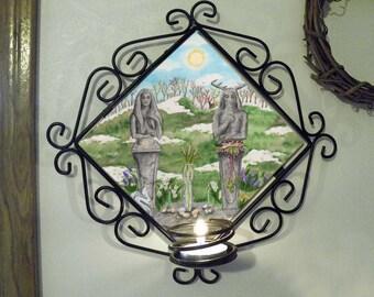Spring Equinox, Ostara Wall Candle Sconce