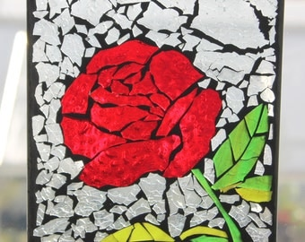 Mosaic RED Rose Sun-catcher . Stained Glass SunCatcher or wall Decoration
