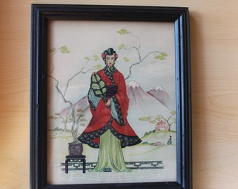 Asian Woman Vintage Print Lithograph - Black Painted Wood Frame - Red Robe w/ Green Teal 10 x 12