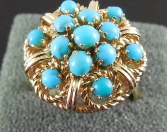 14K Gold Persian Turquoise Ring in Elaborate Setting Size 7