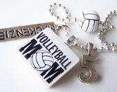 Volleyball Mom SCRABBLE TILE Pendant and Chain ONLY - Charms, Beads, Name Tags Extra