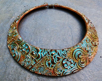 Hearts zentangle polymer clay signature bib necklace in oxidized copper and patina