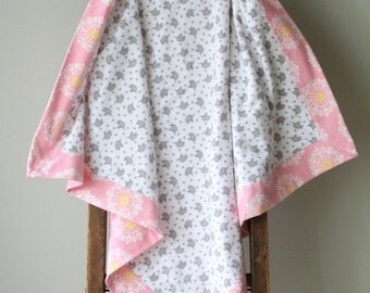 Modern Flannel Blanket, Elephants, Receiving Blanket, Baby Blanket, Flannel Receiving Blanket, Baby Girl, Pink, Flowers, Handmade