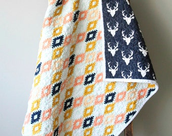 Tribal Baby Quilt, Aztec Quilt, Modern Baby Quilt,  Nursery Bedding, Deer Heads, Baby Girl, Baby Boy, Boho Baby, Handmade Quilt