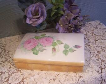 Vintage Porcelain Trinket Box, w/Lid Cottage Chic, Pink Roses, Vanity Decor, Pin Dish, Dresser Box