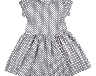 Alice play dress | Gray Polka Dots | Sizes 3 Months to 7/8 | grey, dress, girls dress, baby girl dress, baby dress