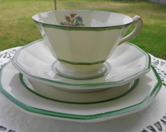 """Black Knight~ Germany~ Trio of """" Lorraine"""" Cup, Saucer, & Bread/Butter Plate"""