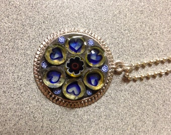 Stained Glass Mosaic Millefiori Hearts Necklace