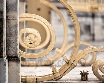 Versailles Print, Gold, Gray, Beige, Baroque Architecture, Fence, Rustic, Neutral, Paris Photography