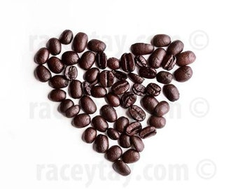 Coffee Art, Brown, White, Art Kitchen, Food Photography, Heart, Minimalist, Modern, Coffee Beans, Kitchen Print