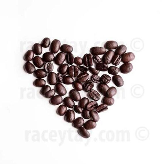 Coffee Art, Brown, White, Art Kitchen, Food Photography, Heart, Minimalist, Modern, Coffee Beans, Kitchen Print