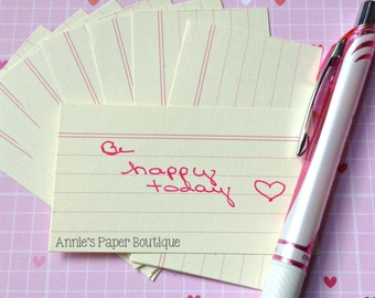 Mini Index Card - Cream (24) - Notes, Stationery, Reminders, Tags - Use in Planner, Traveler's Notebook, Journal