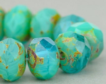 9x6mm Glass Rondelle Beads - Czech Glass Beads - Jewelry Making Supply - Seafoam Picasso Mix - 6x9mm (10 or 25 bead strand)