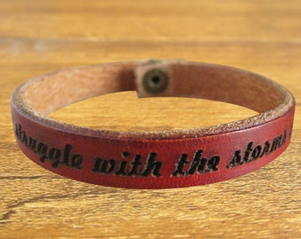 Free Shipping - custom engraved bracelet / leather cuff / leather wrap.