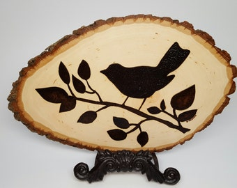 Woodburning Wood  Burning Bird Plaque Silhouette Bird Lovers